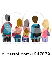 Clipart Of A Rear View Of High School Stuents Looking At Something Royalty Free Vector Illustration