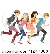 Clipart Of Excited Teenagers Running Royalty Free Vector Illustration