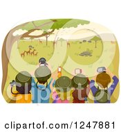 Clipart Of A Rear View Of Teenagers Taking Pictures On A Safari Tour Royalty Free Vector Illustration
