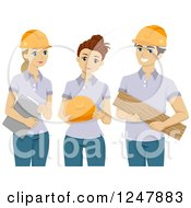 Clipart Of Male And Female Volunteers With Safety Gear Royalty Free Vector Illustration by BNP Design Studio