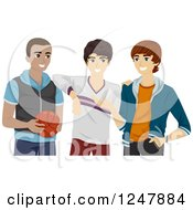 Clipart Of A Teenage Guys Hanging Out With A Basketball Royalty Free Vector Illustration