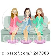 Clipart Of Young Women Drinking Wine At The Spa Royalty Free Vector Illustration
