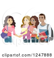 Clipart Of College People Meeting Each Other Royalty Free Vector Illustration