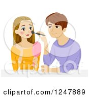 Clipart Of A Teen Guy Putting Makeup On His Girlfriend Royalty Free Vector Illustration by BNP Design Studio
