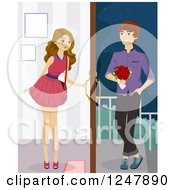 Clipart Of A Beautiful Teenage Girl Opening The Door For Her Date Royalty Free Vector Illustration
