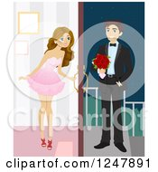 Clipart Of A Teenage Girl Opening Her Door For Her Prom Date Royalty Free Vector Illustration