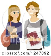 Clipart Of A Young High School Couple Smiling Royalty Free Vector Illustration