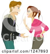 Clipart Of A Teenage Couple Or Brother And Sister Fighting Royalty Free Vector Illustration