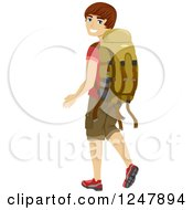 Clipart Of A Young Man Looking Back And Walking With A Camping Backpack Royalty Free Vector Illustration by BNP Design Studio