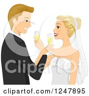 Clipart Of A Blond Caucasian Wedding Couple Giving Each Other Champagne Royalty Free Vector Illustration