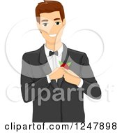 Clipart Of A Handsome Groom Putting A Corsage On His Jacket Royalty Free Vector Illustration