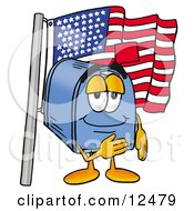 Blue Postal Mailbox Cartoon Character Pledging Allegiance To An American Flag