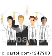 Clipart Of A Groom And His Men Toasting With Champagne Royalty Free Vector Illustration