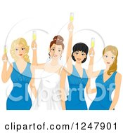 Clipart Of A Bride And Her Maids Toasting Royalty Free Vector Illustration