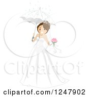 Clipart Of A Happy Bride With Her Bouquet And Umbrella Royalty Free Vector Illustration