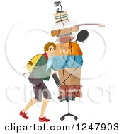 Clipart Of A Male College Guy Moving His Items On A Chair Into A Dorm Royalty Free Vector Illustration by BNP Design Studio