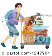 Clipart Of A Male College Guy Moving His Items On A Cart Royalty Free Vector Illustration by BNP Design Studio