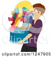 Clipart Of A Male College Guy Carrying His Laundry Royalty Free Vector Illustration by BNP Design Studio