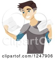 Clipart Of A Happy College Student Receiving An Acceptance Letter Royalty Free Vector Illustration by BNP Design Studio
