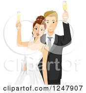 Blond Caucasian Wedding Couple Cheering With Champagne