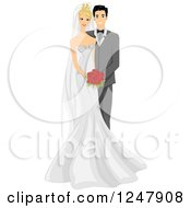 Clipart Of A Happy Bride And Groom Posing For A Picture Royalty Free Vector Illustration