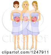 Clipart Of A Beautiful Bridesmaids In Purple Dresses Royalty Free Vector Illustration