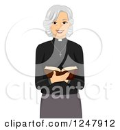 Clipart Of A Female Priest Reading A Bible Royalty Free Vector Illustration