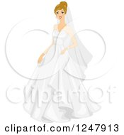 Clipart Of A Blond Bride Smiling In Her Dress Royalty Free Vector Illustration