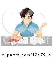 Clipart Of A Teenage Guy Crumpling His Homework Royalty Free Vector Illustration