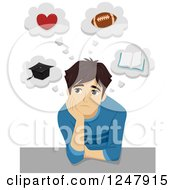 Clipart Of A Teenage Guy Thinking About Life Royalty Free Vector Illustration