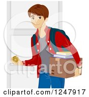 Clipart Of A College Guy Opening A Dorm Room Door Royalty Free Vector Illustration