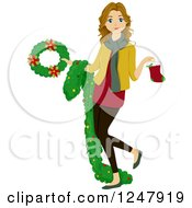 Clipart Of A Teenage Girl Holding Christmas Decorations Royalty Free Vector Illustration