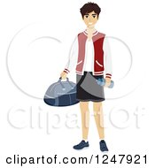 Clipart Of A Teenage Guy In Sports Apparel Royalty Free Vector Illustration