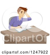 Clipart Of A Teenage Guy Having A Hard Time With His Homework Royalty Free Vector Illustration