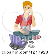 Clipart Of A Teenage Guy Sitting On The Floor With A Cell Phone Tablet And Laptop Royalty Free Vector Illustration by BNP Design Studio