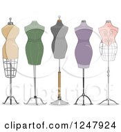 Clipart Of Fashion Design Mannequins Royalty Free Vector Illustration