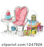 Clipart Of Gifts And A Chair By An 18th Birthdat Party Cake Royalty Free Vector Illustration by BNP Design Studio