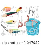 Clipart Of A Can Of Worms And Fishing Items Royalty Free Vector Illustration by BNP Design Studio