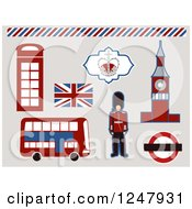 Clipart Of A London Beefeater And Icons Royalty Free Vector Illustration