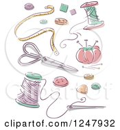 Clipart Of Sketched Sewing Items Royalty Free Vector Illustration