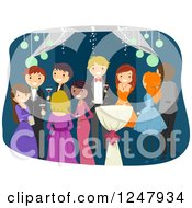 Clipart Of Teenagers Socializing At Prom Royalty Free Vector Illustration by BNP Design Studio