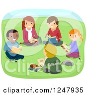 Clipart Of Teenage Students Reading Books In A Park Royalty Free Vector Illustration