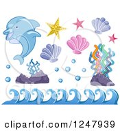 Clipart Of A Dolphin With Waves Corals And Shells Royalty Free Vector Illustration by BNP Design Studio
