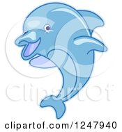 Clipart Of A Leaping Blue Dolphin Royalty Free Vector Illustration by BNP Design Studio