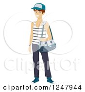 Clipart Of A Teenage Guy Wearing Workout Apparel Royalty Free Vector Illustration