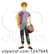 Clipart Of A Young Man In Fashionable Clothes Royalty Free Vector Illustration