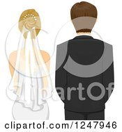 Clipart Of A Rear View Of A Caucasian Wedding Couple At Their Ceremony Royalty Free Vector Illustration