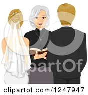 Clipart Of A Rear View Of A Clergy Woman Marrying A Blond Caucasian Couple Royalty Free Vector Illustration