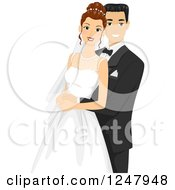 Clipart Of A Happy Bride And Groom Posing For A Photograph Royalty Free Vector Illustration