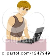 Clipart Of A Young Man Typing On A Laptop Royalty Free Vector Illustration
